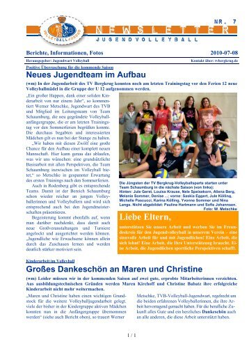 Newsletter 7 - Volleyball Jugend