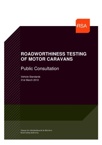 Roadworthiness testing of motor caravans - Road Safety Authority