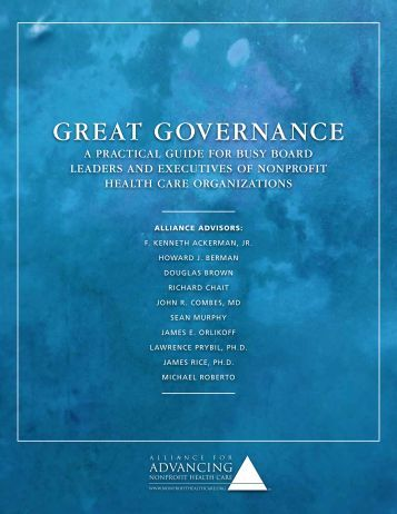 Great Governance - Alliance for Advancing Nonprofit Health Care