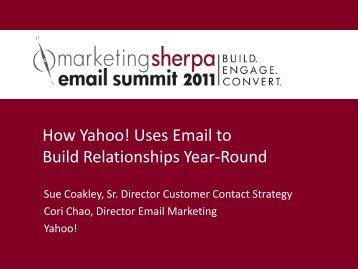 How Yahoo! Uses Email to Build Relationships ... - MarketingSherpa