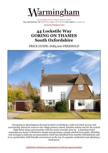 44 Lockstile Way GORING ON THAMES South ... - Warmingham