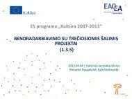paramos bendradarbiavimo su trečiomis šalimis ... - Kultura 2007