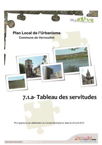 7.1.a- Tableau des servitudes - Mairie de Vernouillet