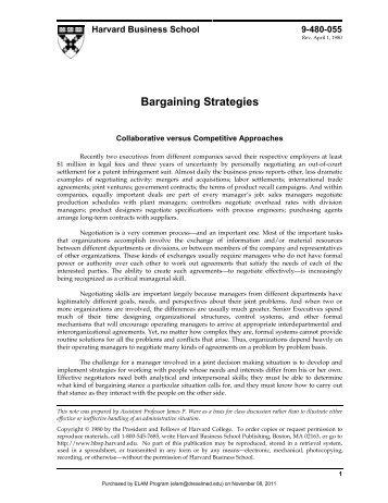 Bargaining Strategies