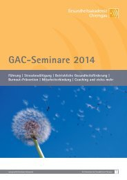 GAC-Seminarbroschüre 2014 - Gesundheitsakademie Chiemgau