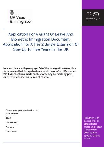 Tier 2 (W) application form - UK Border Agency - the Home Office