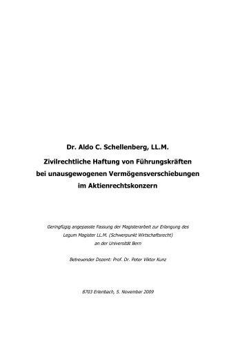 Dr. Aldo C. Schellenberg, LL.M. Zivilrechtliche Haftung von ...