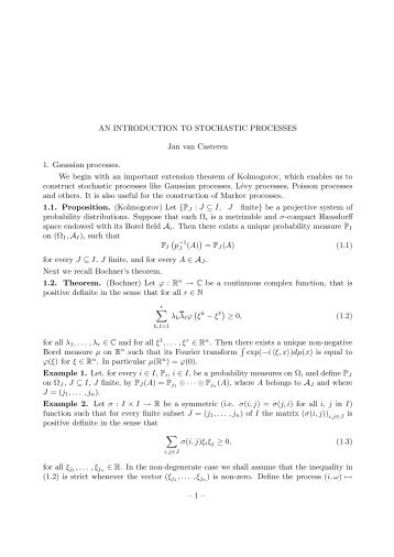 AN INTRODUCTION TO STOCHASTIC PROCESSES Jan van ...