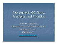 Risk Analysis QC Plans: Principles and Priorities - QCNet