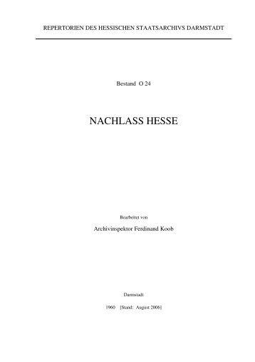 NACHLASS HESSE - Hessisches Archiv-Dokumentations - Hessen
