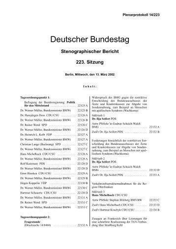 Stenographischer Bericht 223. Sitzung - Deutscher Bundestag