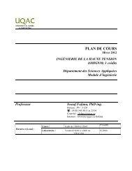 Plan de cours (Syllabus) - UQAC