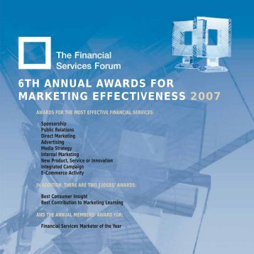 6TH ANNUAL AWARDS FOR MARKETING EFFECTIVENESS 2007 - The Financial ...