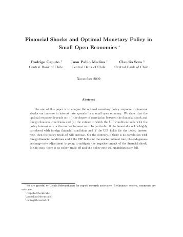 Financial Shocks and Optimal Monetary Policy in Small Open ...
