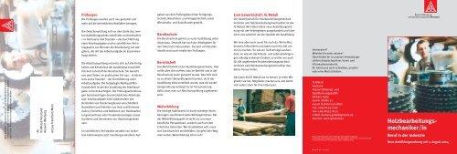 Holzbearbeitungsmechaniker/in - IG Metall 4 you