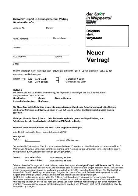 Schwimm -Sport -Leistungszentrum Vertrag für ... - Stadt Wuppertal
