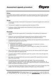 Assessment appeals procedure - Fitness Professionals