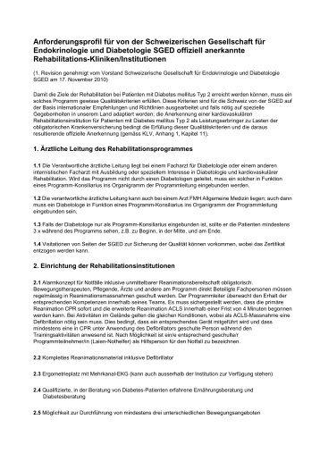 Anforderungsprofil für von der Schweizerischen ... - SGED-SSED