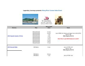 Legendary Journeys presents Viking River Cruises Sales Event