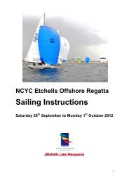 SI for 2012 Newcastle Etchells Offshore Regatta