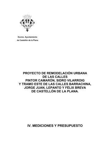 IV. MEDICIONES Y PRESUPUESTO - Ayuntamiento de Castellón