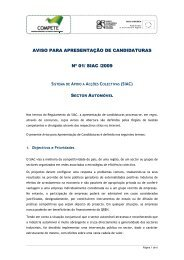Aviso para a Apresentação de Candidaturas n.º ... - Compete - Qren