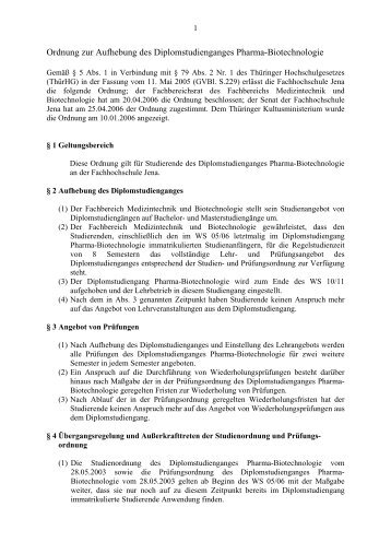 Diplom Pharma-Biotechnologie - Fachbereich Medizintechnik und ...