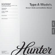 Type A Models - Hunter Fan