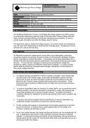 JOB DESCRIPTION/ CANDIDATE SPECIFICATION POST ... - FEjobs