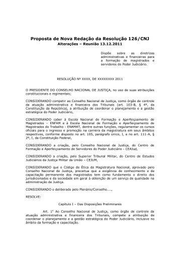 Proposta de Resolução Conjunta – CNJ, ENFAM E ENAMAT - AMB