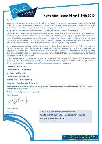 Newsletter 19.4.13.pdf - Oasis Academy Immingham