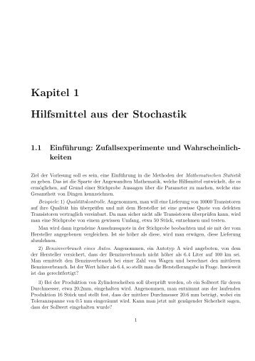 Kapitel 1 Hilfsmittel aus der Stochastik