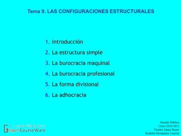 Tema 9. LAS CONFIGURACIONES ESTRUCTURALES