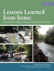 Lessons Learned from Irene: Vermont RPCs Address ... - NADO.org