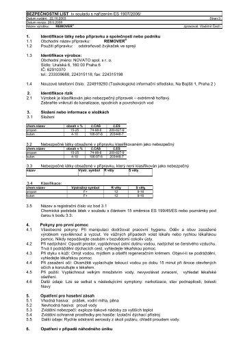 BEZPEČNOSTNÍ LIST /v souladu s nařízením ES 1907 ... - Novato