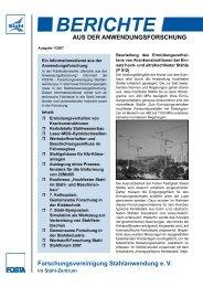 BERICHTE AUS DER ANWENDUNGSFORSCHUNG - Stahl-Online