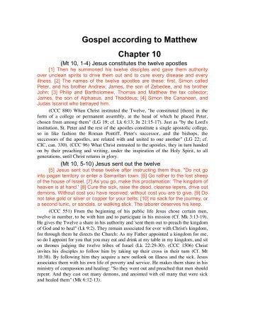 Gospel according to Matthew Chapter 10