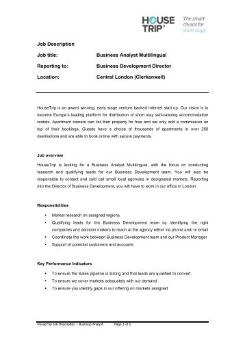 Junior Business Analyst Job Description We Are Looking