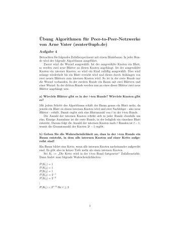 ¨Ubung Algorithmen für Peer-to-Peer-Netzwerke von Arne Vater ...