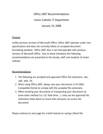 Office 2007 Recommendations Union Catholic IT Department ...