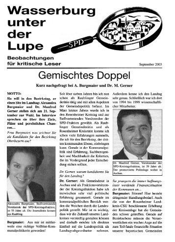 Lupe, September 2003, Gemischtes Doppel - SPD-Wasserburg