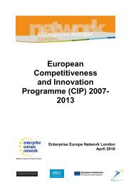 Competitiveness and Innovation Programme - London Chamber of ...