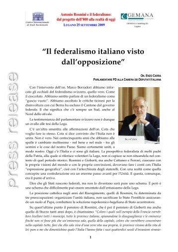 Il federalismo italiano visto dall'opposizione - Centro Internazionale ...