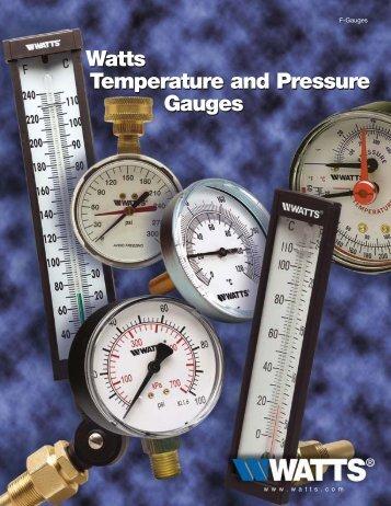 Watts Temperature and Pressure Gauges - Watts Water Technologies