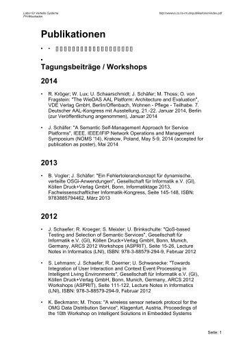 Publikationen - Labor für Verteilte Systeme