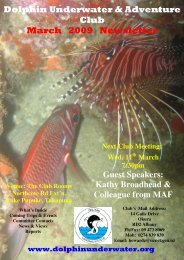 Dolphin Underwater & Adventure Club March 2009 Newsletter