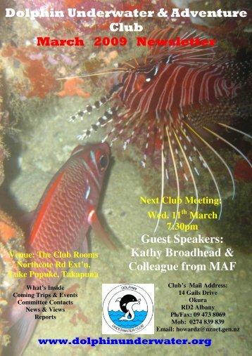 Dolphin Underwater & Adventure Club March 2009 Newsletter