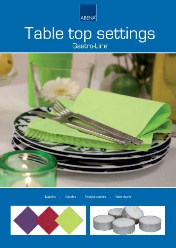Table top settings