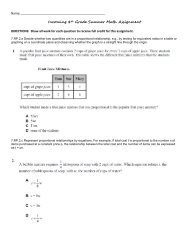 Incoming 8th Grade Summer Math Assignment - Is34.org