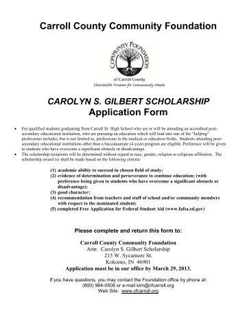 Carolyn Gilbert Memorial Scholarship - Carroll County Community ...